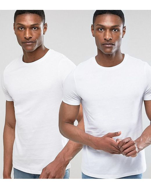 ASOS | White Tall T-shirt With Crew Neck 2 Pack Save for Men | Lyst