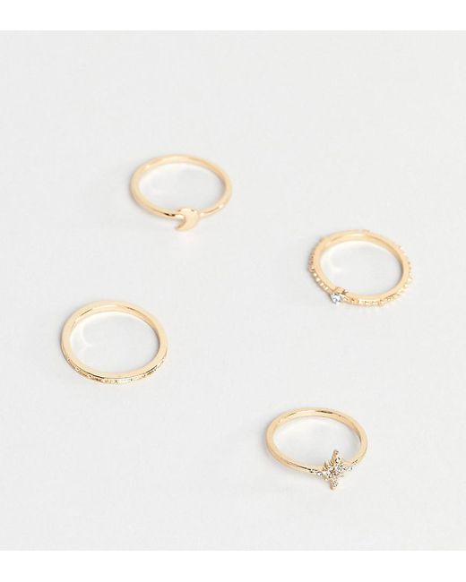 ASOS - Metallic Asos Design Curve Pack Of 4 Rings With Star And Moon Design In Gold - Lyst