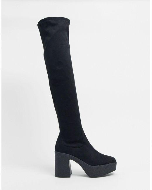 Черные Ботфорты На Массивной Подошве -черный Цвет Truffle Collection, цвет: Black