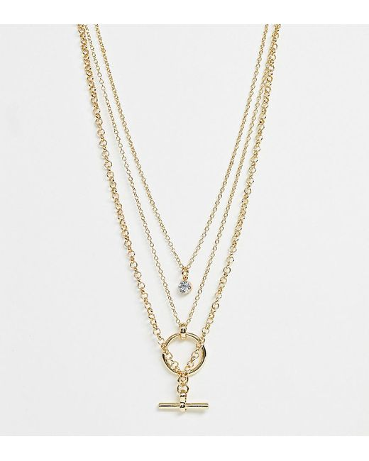 ASOS Metallic Asos Design Curve Multirow Necklace With Minimal Open Circle And toggle Pendants In Gold