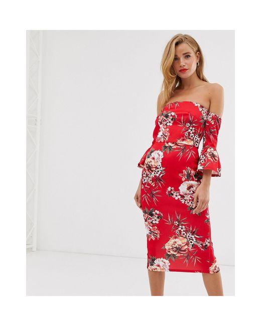 Облегающее Платье С Открытыми Плечами И Расклешенными Рукавами -мульти True Violet, цвет: Red