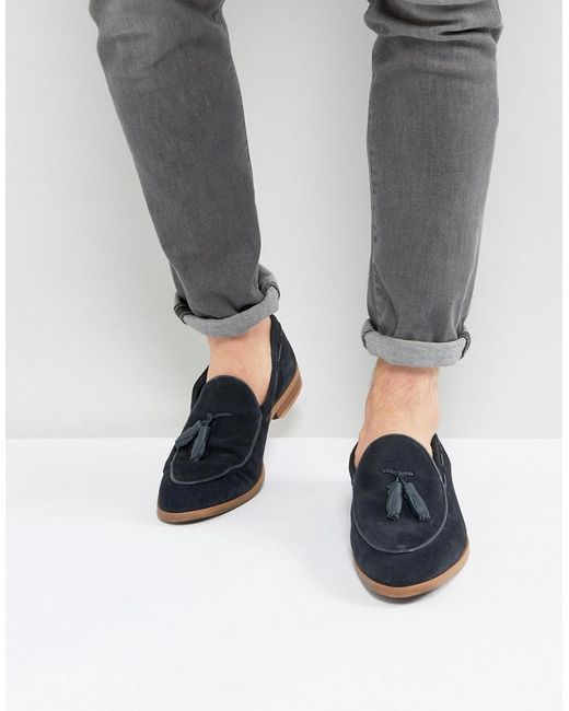 ASOS | Blue Loafers In Navy Suede With Leather Binding And Natural Sole for Men | Lyst