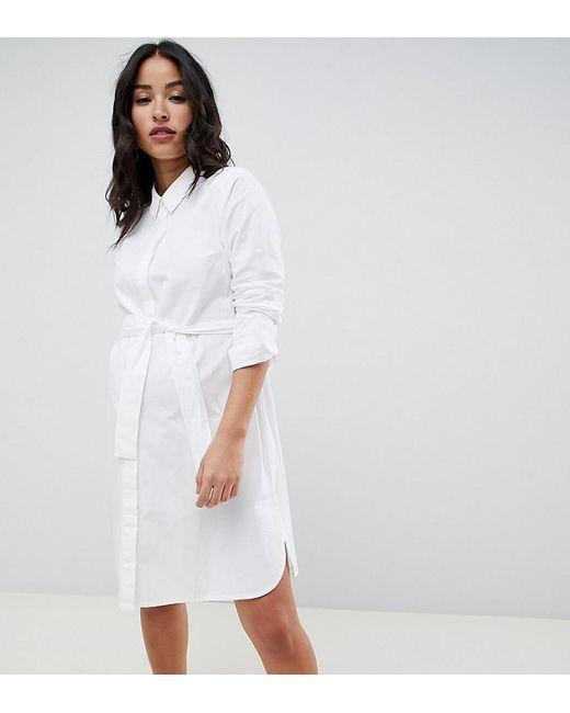 45dcde36859 ASOS - White Asos Design Maternity Cotton Mini Shirt Dress With Tie Belt -  Lyst ...