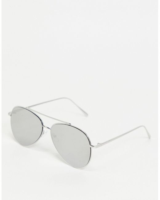 Серебристые Солнцезащитные Очки-авиаторы С Зеркальными Стеклами ASOS для него, цвет: Metallic