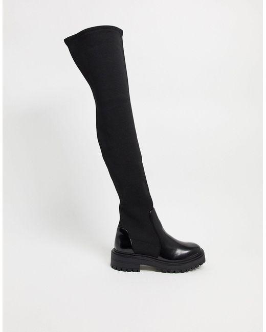 Черные Ботфорты На Массивной Подошве ASOS, цвет: Black