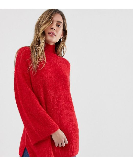 New Look - Red Fluffy Wide Sleeve Jumper - Lyst
