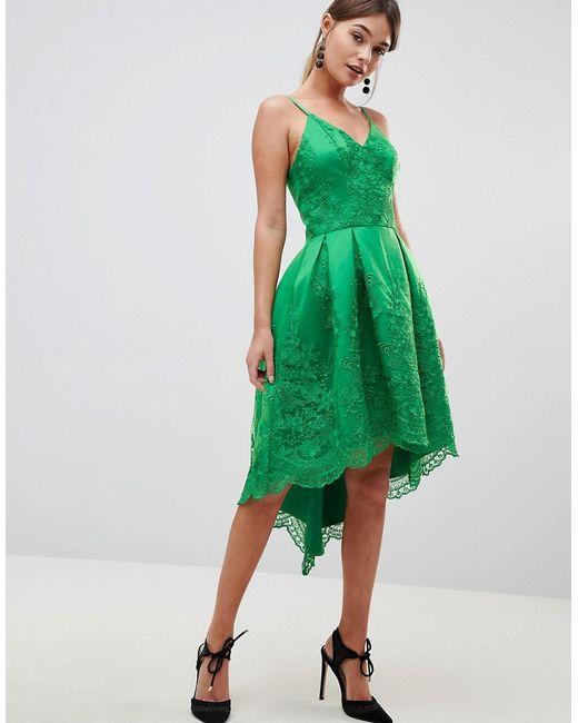 d9f6ce730e09a Chi Chi London - Green Premium Lace Dress With Cami Strap - Lyst ...