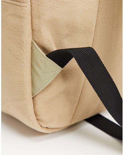 Светло-бежевый Рюкзак Из Флиса С Контрастными Бегунками ASOS для него, цвет: Natural