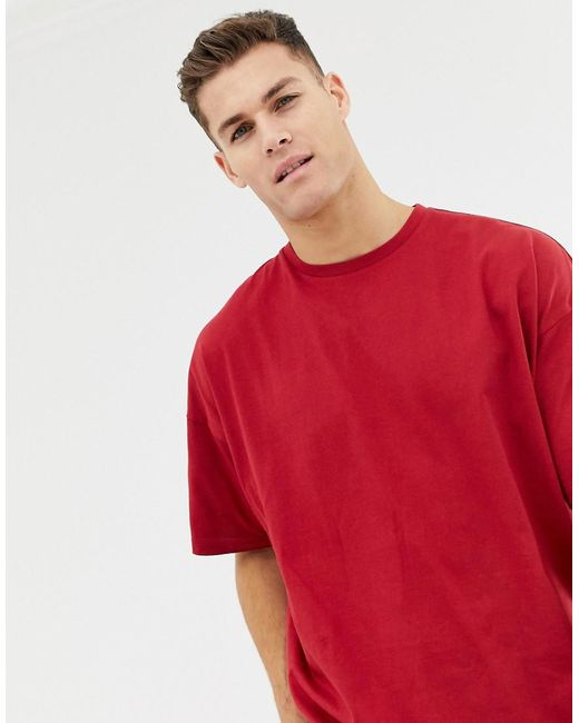 01735ba1 ASOS Oversized T-shirt With Crew Neck In Red in Red for Men - Lyst