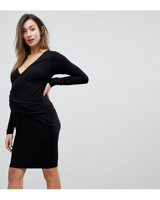 ASOS - Black Wrap Bodycon Dress With Ruching - Lyst