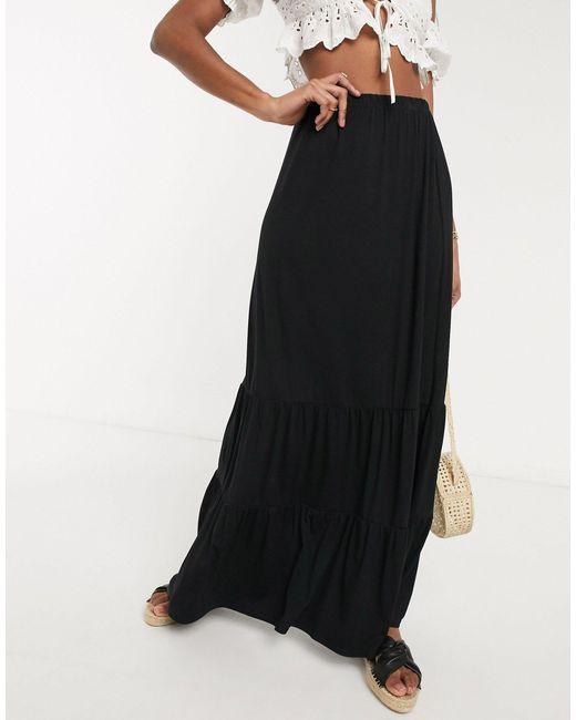 Черная Ярусная Юбка Макси ASOS, цвет: Black