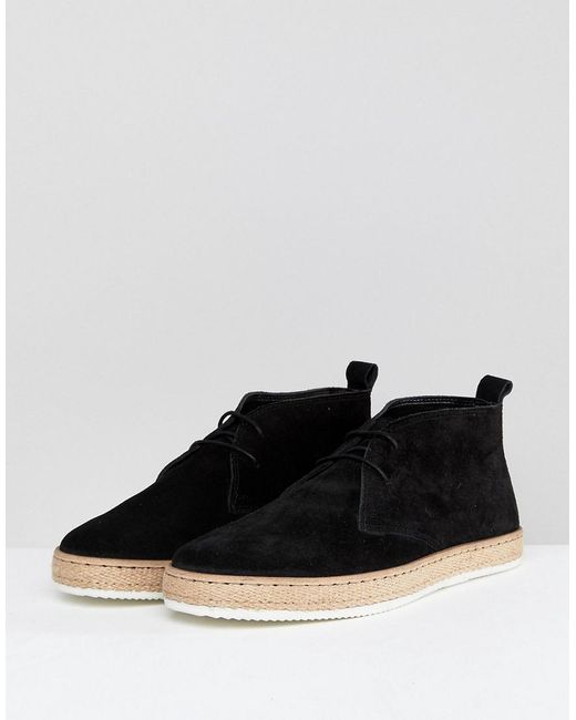 Desert Boots With Espadrille Sole Black - Black Dune London Discount Big Sale nuQOd