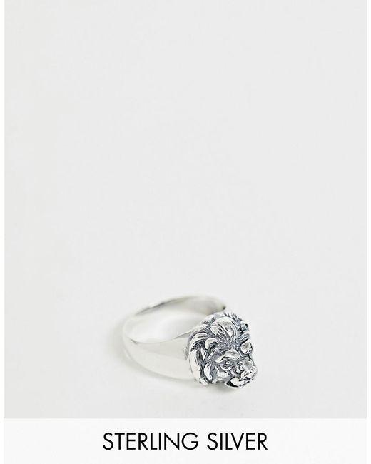 ASOS Ring mit Löwenkopf aus Sterlingsilber in Metallic für Herren