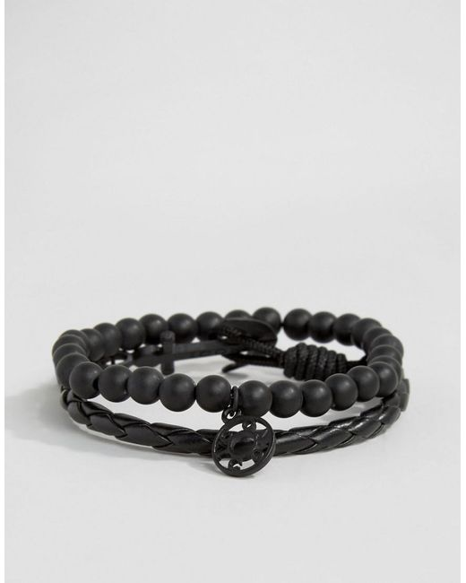 Icon Brand | Silverball Anchor Bracelet In Black/black for Men | Lyst