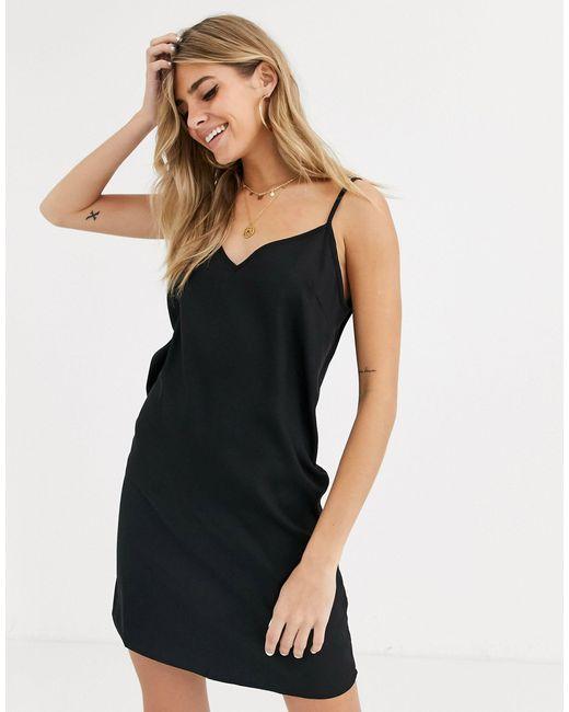 Черное Платье-комбинация Мини ASOS, цвет: Black