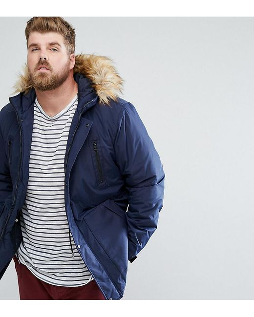Asos Plus Parka Jacket With Faux Fur Trim In Navy in Blue for Men ...