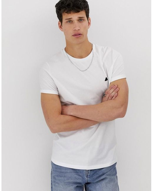 ASOS T-shirt With Crew Neck And Roll Sleeve With Logo In White for men