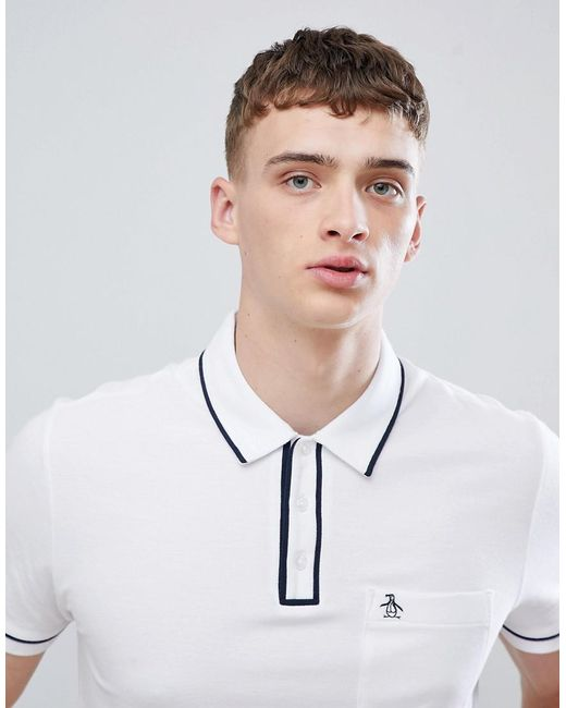 Original Penguin - Slim Fit Tipped Pique Polo With Logo In White for Men - Lyst