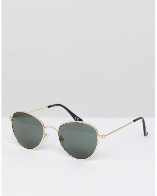 ASOS - Metallic Round Glasses In Gold Metal With Smoke Lens for Men - Lyst