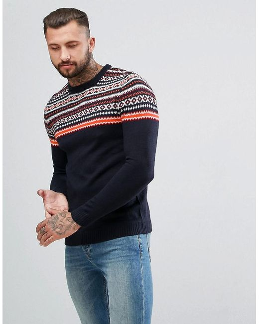 Lyst - Pull&Bear Fairisle Jumper In Navy Blue in Blue for Men