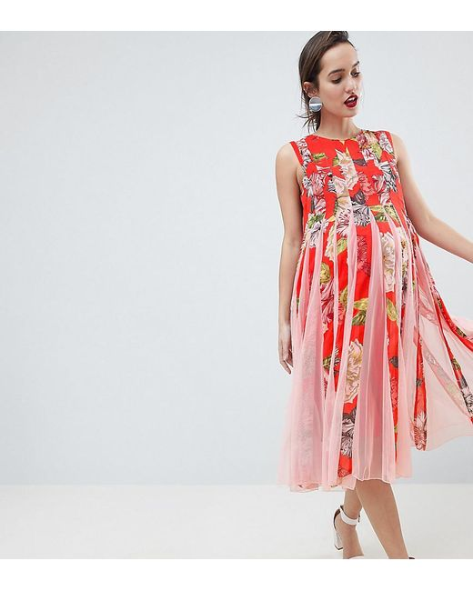 ASOS - Red Floral Mesh Insert Fit And Flare Midi Dress - Lyst