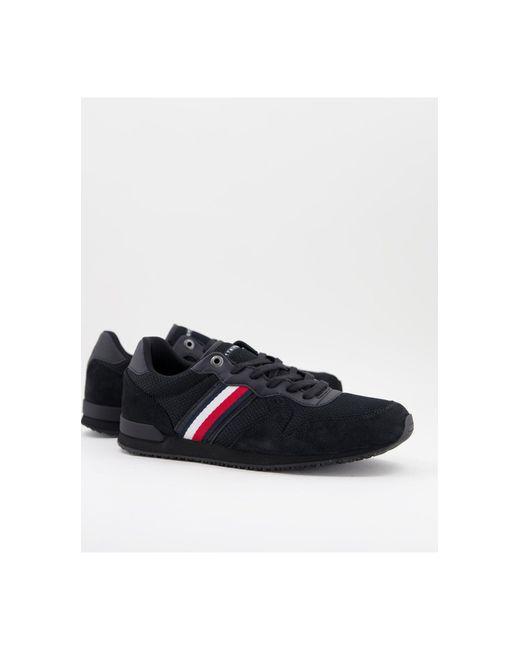 Черные Кожаные Кроссовки Для Бега С Фирменными Полосками Сбоку -черный Tommy Hilfiger для него, цвет: Black