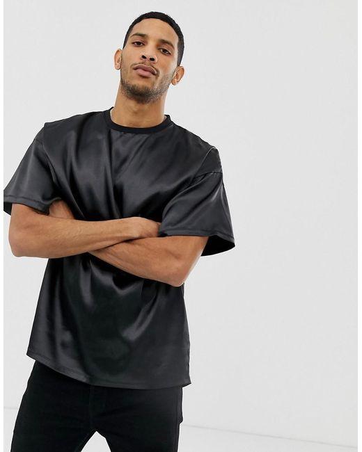 18f60798 ASOS Oversized T-shirt In Satin Fabric In Black in Black for Men - Lyst