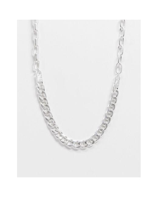 Серебристое Ожерелье С Цепочками Разного Плетения -серебряный Icon Brand для него, цвет: Metallic