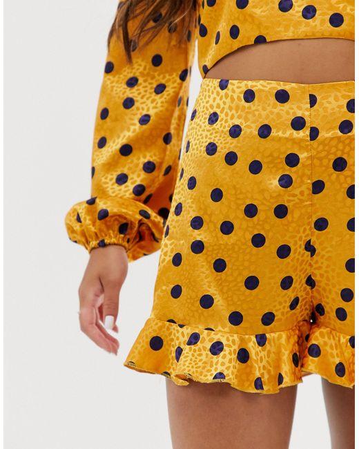 Pantaloncini morbidi gialli a pois di John Zack in Yellow