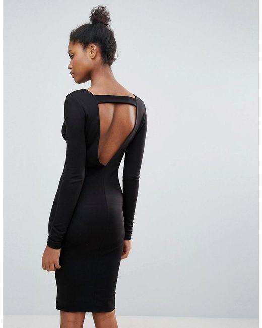 Vila - Black Open Back Jumper Dress - Lyst ...