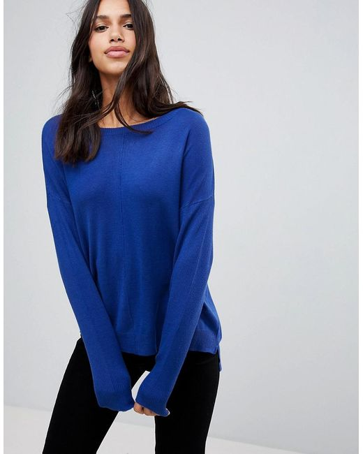 d29005c35 Lyst - Blend She Jessie Off Shoulder Knit Sweater in Blue