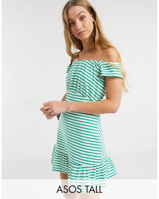 Сарафан Мини С Открытыми Плечами В Зеленую И Белую Полоску Эксклюзивно Для ASOS, цвет: Blue