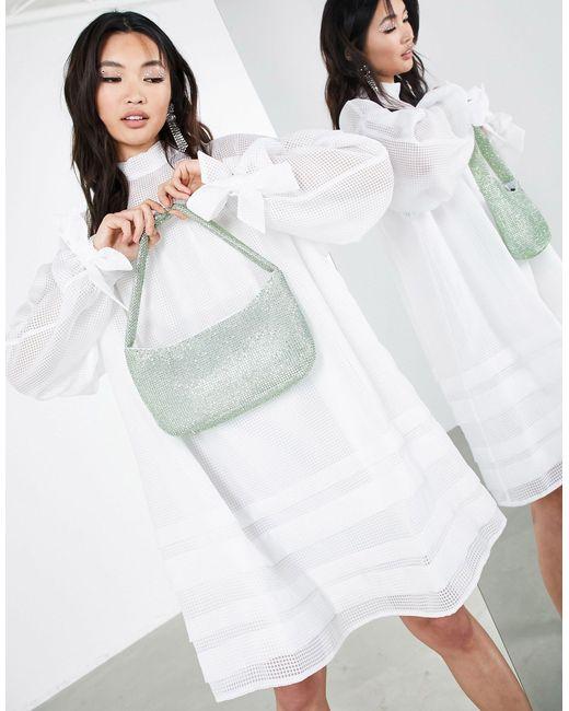 Vestido corto blanco a cuadros con detalle ASOS de color White