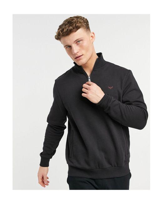 Threadbare Black 1/4 Zip Mix And Match Sweatshirt for men