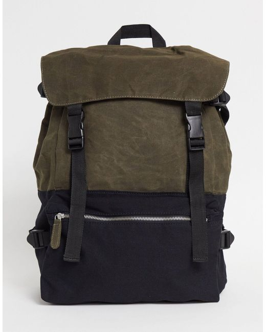 Парусиновый Oversized-рюкзак Черного Цвета И Хаки С Несколькими Отделениями ASOS для него, цвет: Green