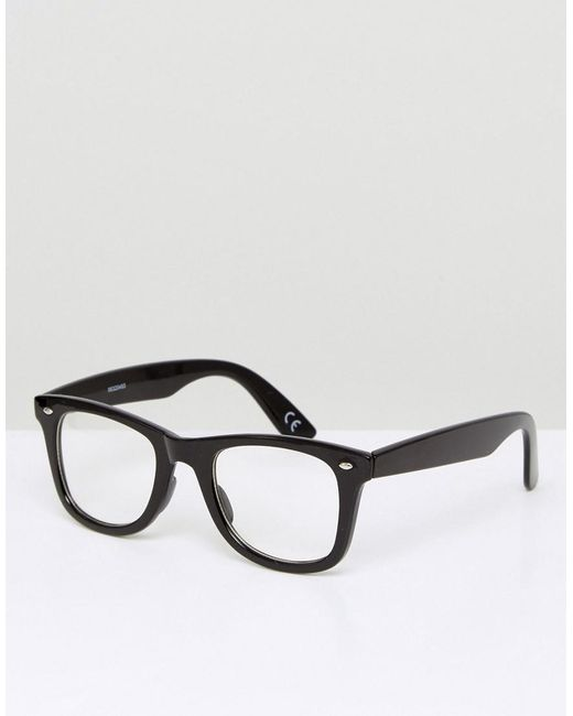 f2b9981b954240 ASOS Square Glasses In Black With Clear Lens in Black for Men - Lyst