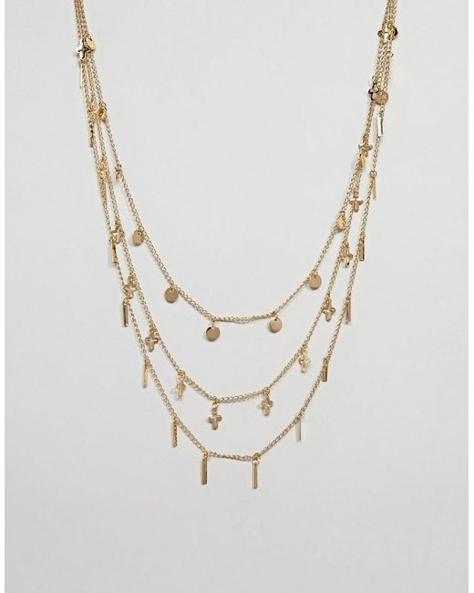 ASOS - Metallic Multirow Necklace With Mixed Charms In Gold - Lyst