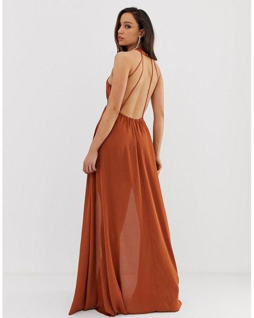 393f1879d76b Vestido largo con cuello cruzado y detalle de abertura en la cintura de  mujer de color naranja