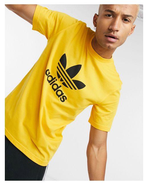 Золотистая Футболка С Большим Логотипом-трилистником -золотой Adidas Originals для него, цвет: Metallic