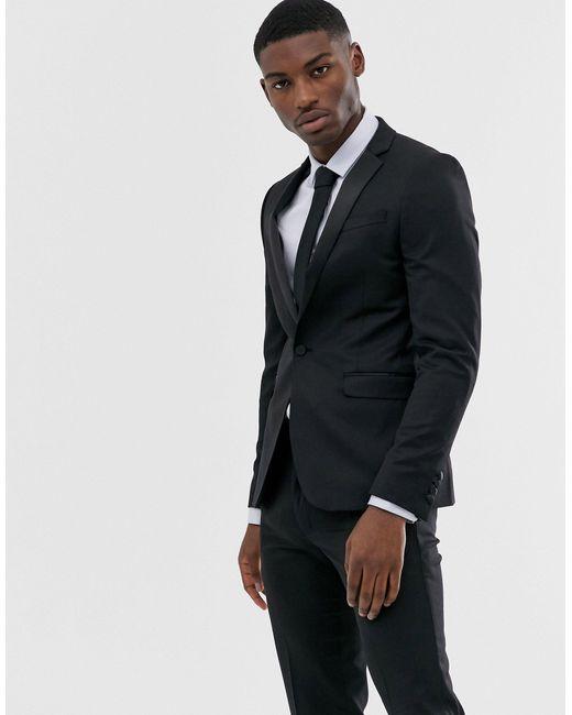 Giacca da abito stile smoking skinny nera di ASOS in Black da Uomo
