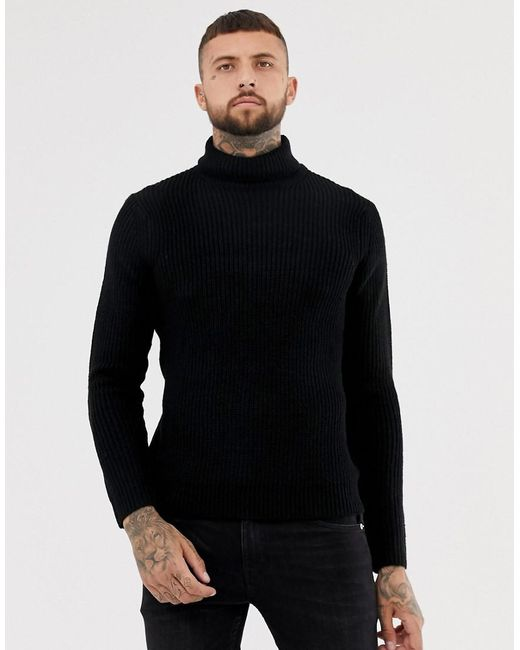 Bershka - Knitted Roll Neck Sweater In Black for Men - Lyst