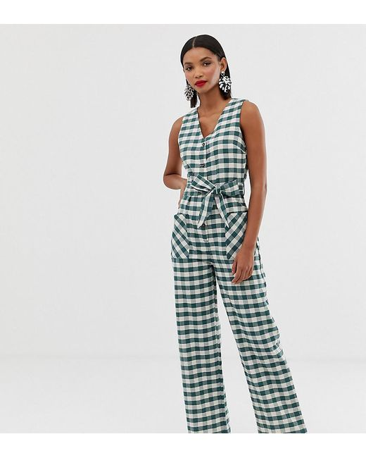 Mango Green Gingham Printed Jumpsuit