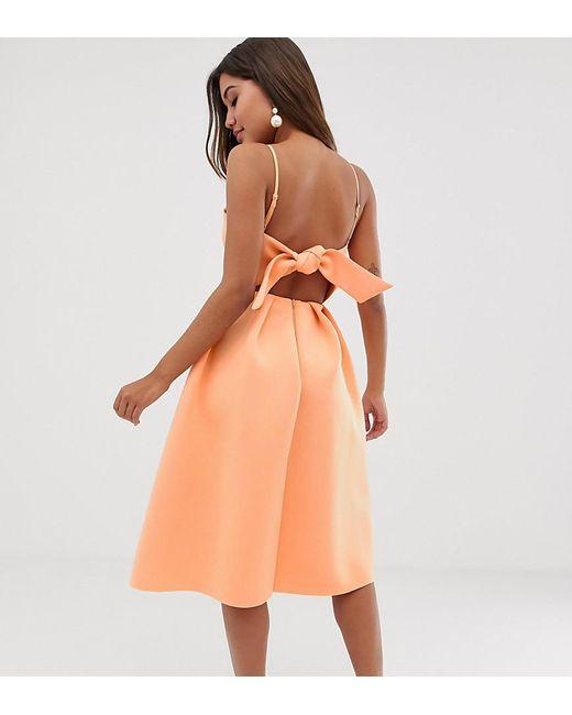96fa9574788be ASOS - Orange Bow Back Midi Prom Dress - Lyst ...