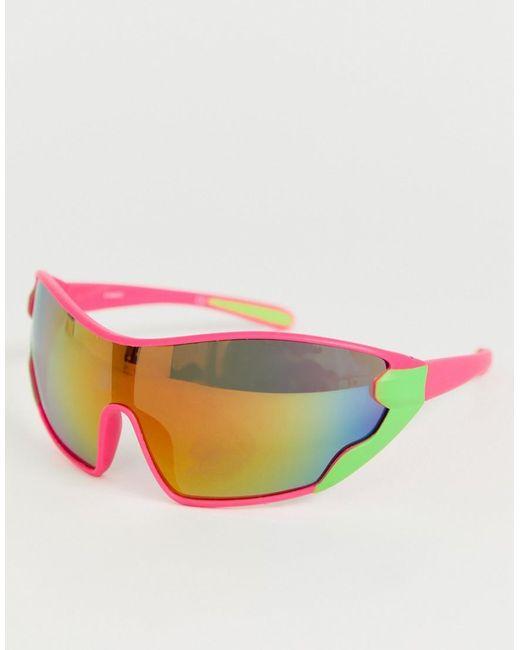 ASOS Pink Wrap Oversized Visor Sunglasses In Neon Frame