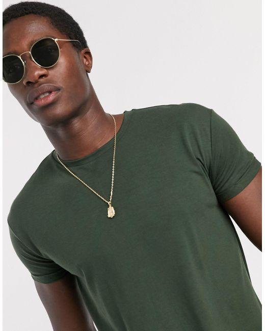 T-shirt lunga verde di Topman in Green da Uomo