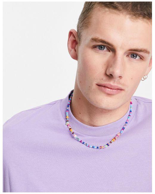 Ожерелье С Разноцветными Бусинами ASOS для него, цвет: Purple