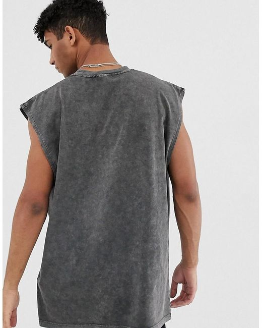 9af1266f82bcd ... ASOS - Black Wu-tang Clan Oversized Sleeveless T-shirt With Acid Wash  for