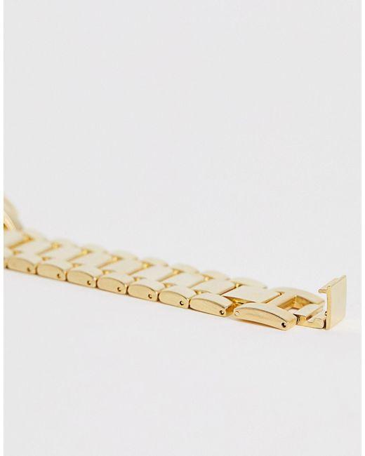 Золотистые Наручные Часы С Черным Циферблатом ASOS для него, цвет: Metallic