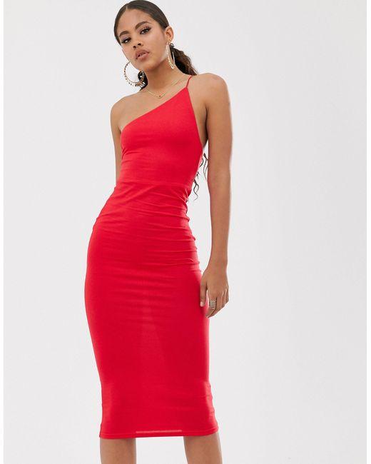 ASOS Asos Design - Tall - Exclusieve Midi-jurk Met Blote Schouder in het Red