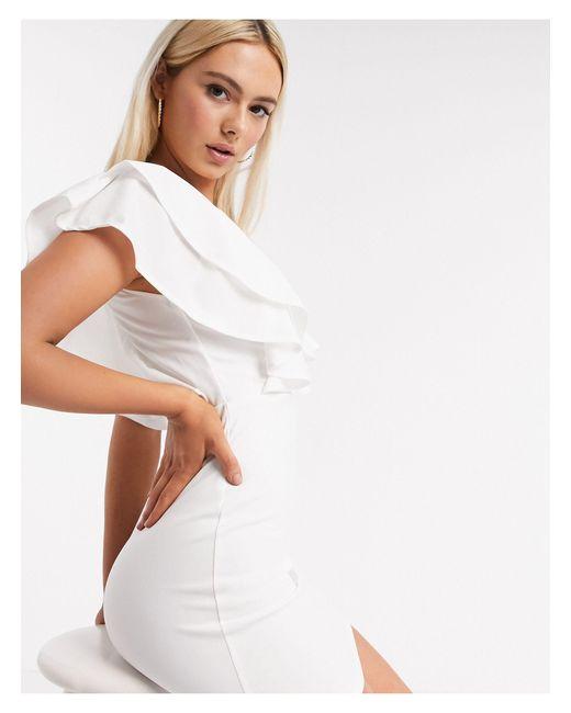 Кремовое Платье Мини С Оборками -кремовый AX Paris, цвет: White